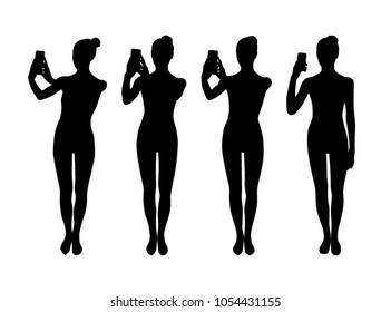Woman taking photo silhouettes