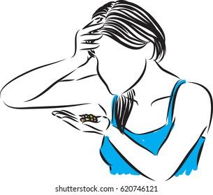 woman taking pills vector illustration