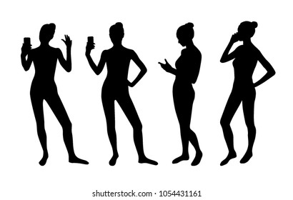Woman taking selfie and phone talking silhouettes