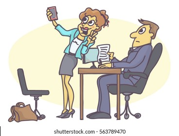 Woman taking a selfie picture at job interview, cartoon illustration