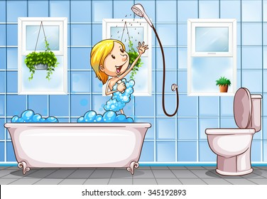 Woman taking shower in the bathroom illustration