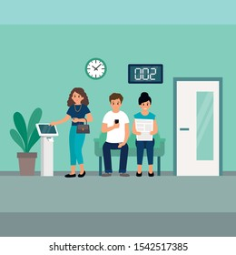 Woman is taking the ticket from Smart Queue Management System machine with ticket dispenser. People are waiting in the queue. Flat style. Vector illustration.