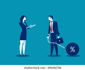 Woman talking to businessman chain bound hands. Concept business vector illustration. Character flat design.
