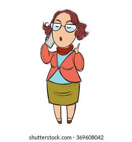 Woman talking on the phone arrogantly, lecturing, pointing her finger up, eyes shut; cartoon
