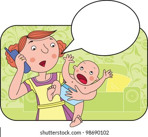 Woman is talking on the phone near blank speech bubble. She holds a crying baby in her arms.