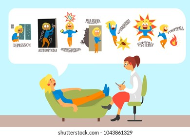 Woman talking with psychotherapist about problems and phobias: depression, achluophobia, nomophobia, paranoia, entomophobia, hysteria, pyrophobia. Flat vector design