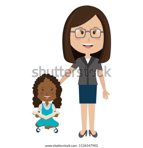 Woman Teacher Girl Avatar Character Education Stock Image