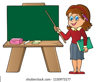 Woman teacher standing by schoolboard - eps10 vector illustration.