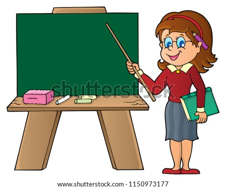 Woman teacher standing by schoolboard - eps10 vector illustration.