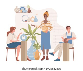 Woman teaching people on pottery lessons vector flat illustration. Happy man and woman making and decorating clay vases and pots at pottery workshop. People enjoying their hobby.
