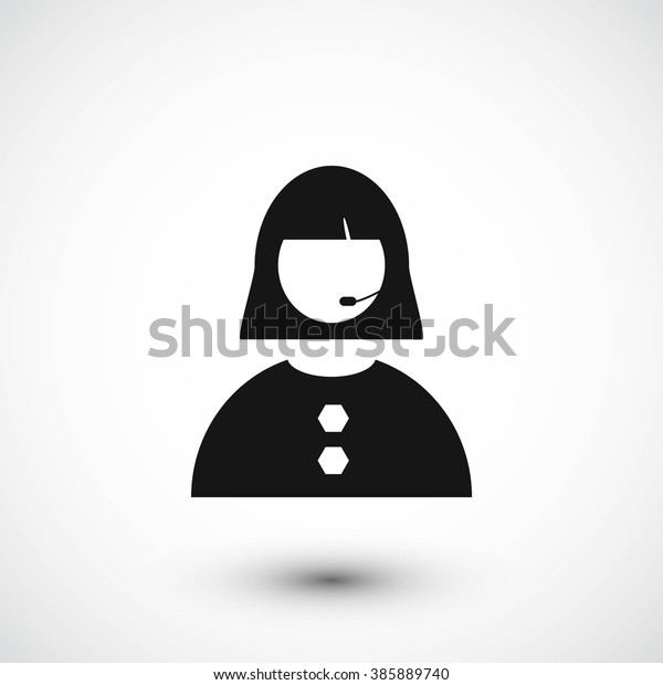 Woman Telephone Headset Icon Stock Vector Royalty Free 385889740