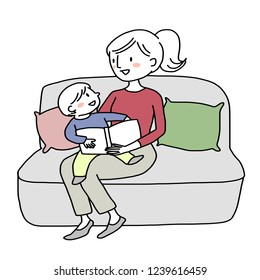 Woman telling and reading a storybook to her son. Little boy reading a storybook together with his mom. Mother spending happy family time with her child. Booklover concept with little reader.