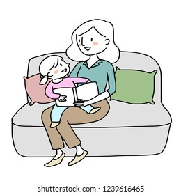 Woman telling and reading a storybook to her daughter. Little girl reading a storybook together with her mom. Mother spending happy family time with her child. Booklover concept with little reader.