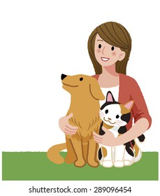 A woman tenderly holding her dog and a cat, looking up.
