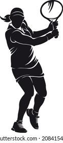 Woman tennis-player, silhouette