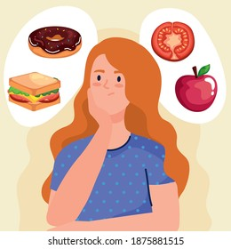 woman thinking about fast food design, unhealthy eat and restaurant theme Vector illustration