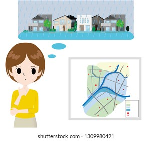 woman thinking about a hazard map and a case where the town was flooded.