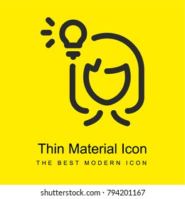 Woman Thinking bright yellow material minimal icon or logo design