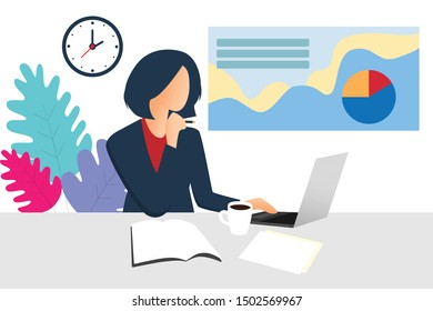 Woman thinking for the success of the organization.
