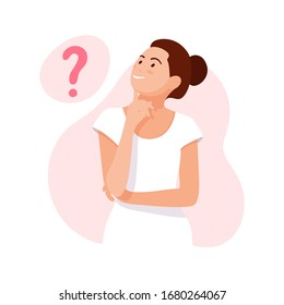WOMAN THINKS. Girl thinking about problems, finance, life, relationship etc. Question. Girl solves a problem. Mom doubts. Woman with question marks. Cartoon vector illustration