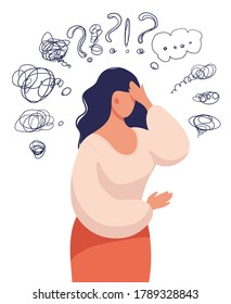 A woman thinks over a problem, suffers from obsessive thoughts, headache, unresolved issues, psychological trauma, depression. Flat vector illustration.