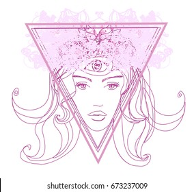Woman with third eye, psychic supernatural senses