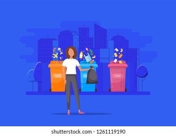Woman  throws garbage into a organic container, vector illustration. Environmental Protection