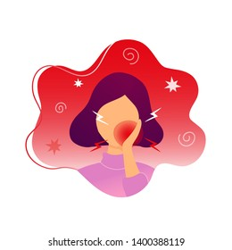 Woman with toothache touching her chick. Flat modern trendy style.Vector illustration character icon. Isolated on white background.