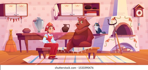 Woman in traditional old russian costume sundress and kokoshnik, bear and cat sitting on kitchen with stove, cuckoo-clock, samovar, grip and rag on floor. Rural room decor. Cartoon vector illustration