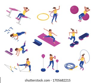 Woman training at gym with jumping rope fitness ball stretcher hoop yoga mat boxing pear isometric set isolated on white background 3d vector illustration