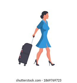 Woman with travel suitcase. Female with a luggage bag. Beautiful and attractive young girl in a dress with suitcases. As a template for travel or airport. Vector illustration flat design.
