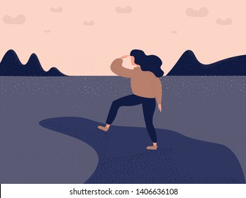 Woman traveler or explorer standing on top of a mountain or cliff and looking straight on the sea or ocean Trendy flat illustration concept of discovery, exploration, hiking, adventure tourism, travel