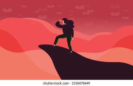 woman traveler or explorer standing on top of a mountain or cliff and looking straight. Trendy flat illustration concept of discovery, exploration, hiking, adventure tourism, travel