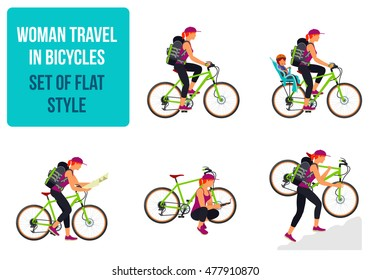 Woman traveling by bike. Vector flat Illustration. Web graphics, banners, advertisements, brochures, business templates. Isolated on a white background