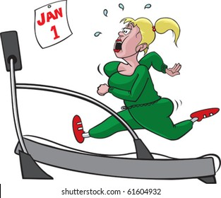 Woman and treadmill on separate layers. Layered vector file available.