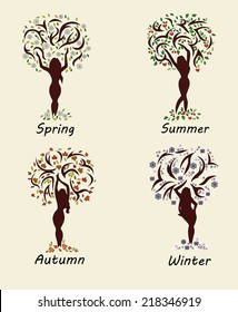 A woman tree in four seasons. Vector illustration