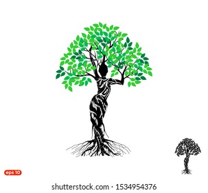 Woman Tree logo Vector isolated, dryad tree, mythology, goddess logo.