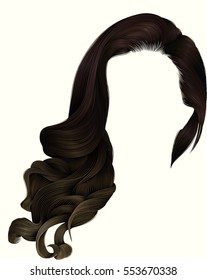 woman trendy long curly brunette hairs wig dark brown colors .  coloring highlighting, . beauty fashion . realistic 3d .