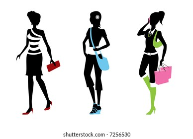 woman trendy silhouettes with colorful accessories