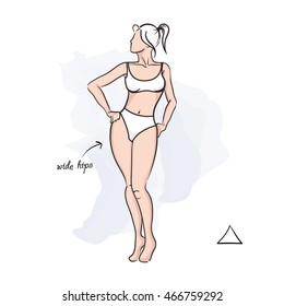 Woman triangle body shape. Vector illustration of girl's figure. Woman in bathing suit.