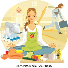 A woman tries to keep calm while surrounded by chaos. Multitasking.