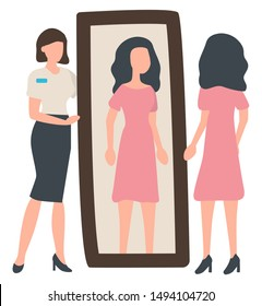 Woman tries on dress near mirror, seller and shopper characters. Sale old collection, wardrobe and clothes, female wearing pink dress and high heels. Vector illustration in flat cartoon style