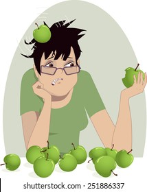 Woman trying to generate an idea. Upset woman is hit by a head with an apple, metaphor for boosting creative thinking, vector illustration, no transparencies