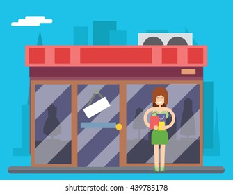 Woman Turns out Overstock Store Characters Icon Symbol Stylish Isolated cartoon Design Concept Template Vector Illustration