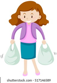 Woman with two shopping bags illustration