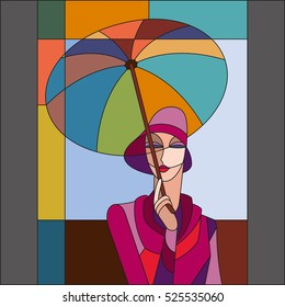 Woman under umbrella pattern. Art deco vector colored geometric pattern. Art deco stained glass pattern.