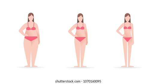 A Woman in underwear three different kinds of body sizes and types of figure. Stages of weight lose. Before and after the diet concept. Healthy lifestyle and fitness theme. Flat vector illustration