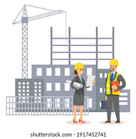 Woman in uniform engineer in helmet talking to man foreman on building construction background flat vector illustration. Modern architect girl in the male profession communicates with the builder
