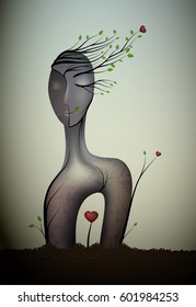 woman unknown soul, surrealistic woman statue, woman in love idea, woman in love icon concept,  surrealism, vector