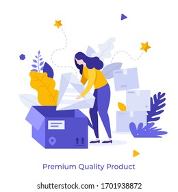Woman unpacking parcel and taking giant diamond, jewel or gemstone out of box. Concept of premium quality product delivery, purchase of luxury good, vip customer bonus. Modern flat vector illustration